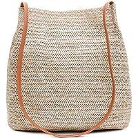 Women Straw Beach Bag,Hamkaw Hand-Woven Straw Shoulder Bag,Concise Design Beach Large Summer Tote Bag