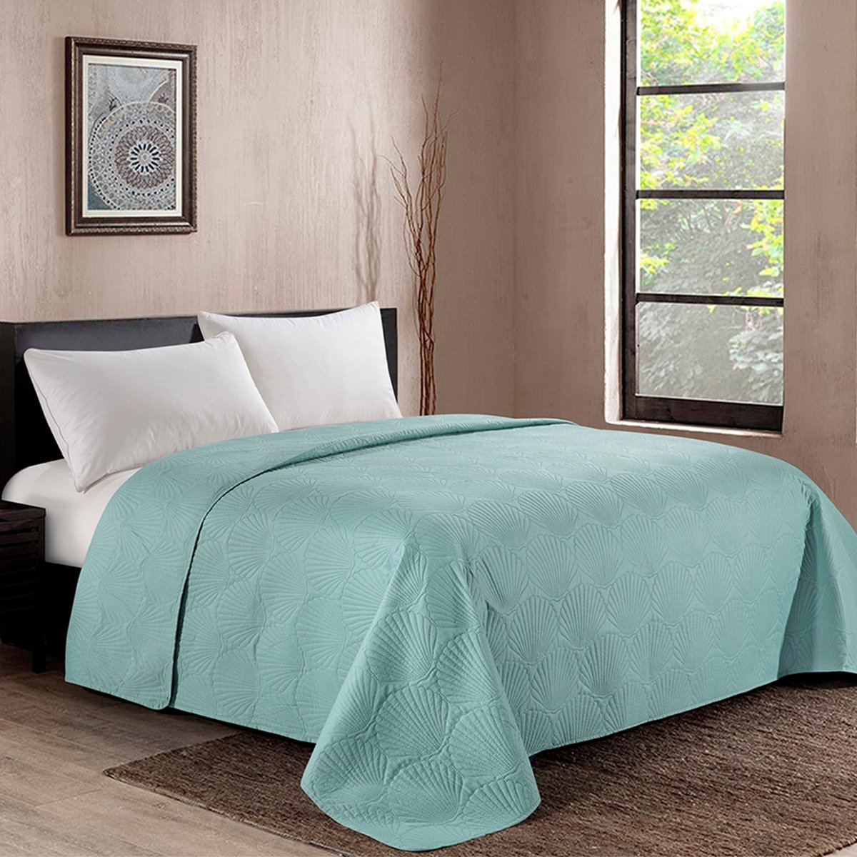 HollyHOME Coastal Style Super Soft Solid Single Shell Parttern Pinsonic Quilted Bed Quilt Bedspread Bed Cover, Turquoise, King by HollyHOME