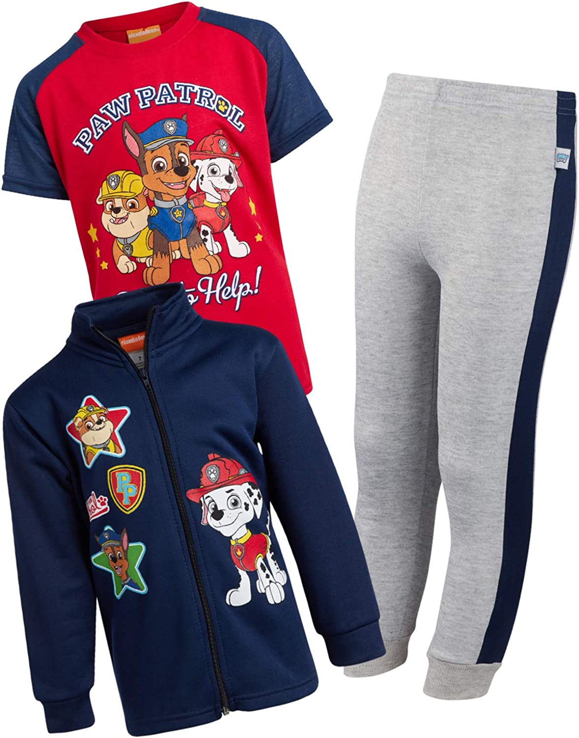 Nickelodeon Boys Paw Patrol 3-Piece Jogger Set - Fleece Zip...