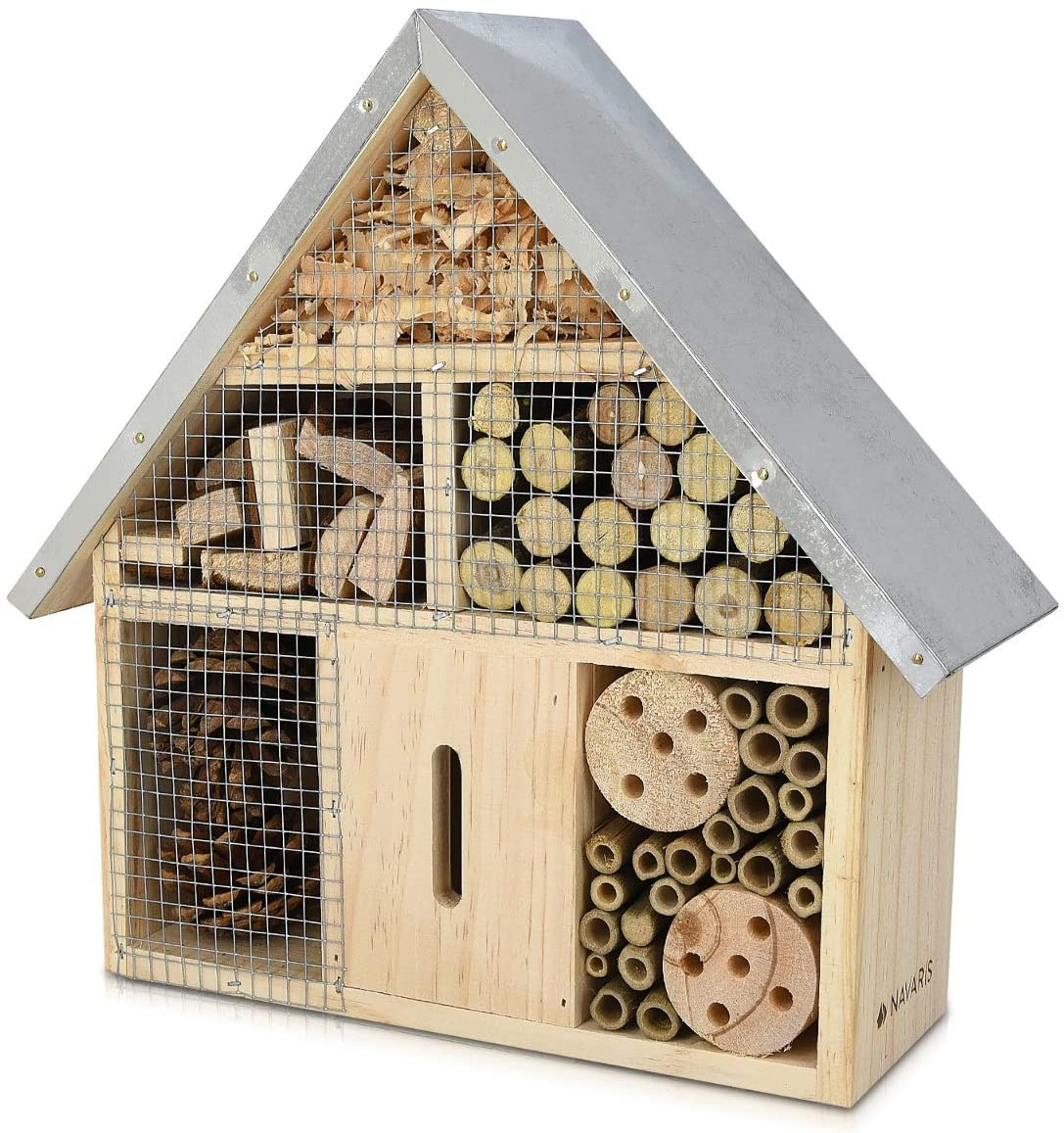 Navaris M Wooden Insect Hotel - 10 x 11 x 3 Inches - Natural Wood Insect Home Bamboo Nesting Habitat - Garden Shelter for Bees, Butterflies, Ladybugs