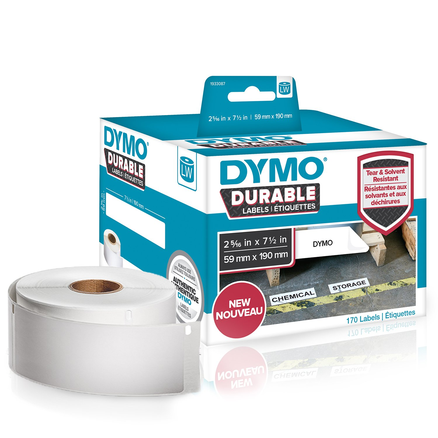 """DYMO LW Durable Industrial Labels for LabelWriter Label Printers, White Poly, 2-5/16"""" x 7-1/2"""", Roll of 170 (1933087)"""