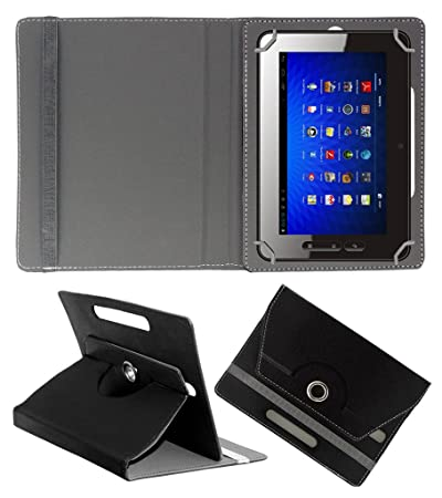 Acm Rotating 360 Leather Flip Case Compatible with Micromax Funbook P300 Tablet Cover Stand Black Bags,Cases   Sleeves