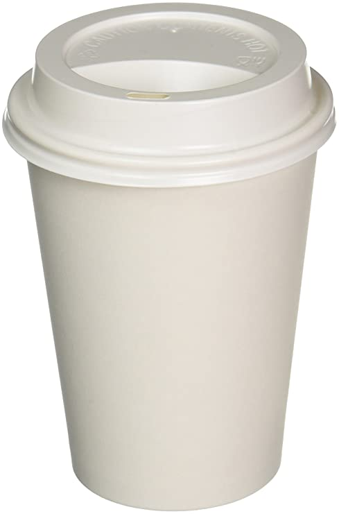 Paper Coffee Cups Solo Disposable White Hot Cup with Cappuccino LIDS Pack  of 100 (12 oz)