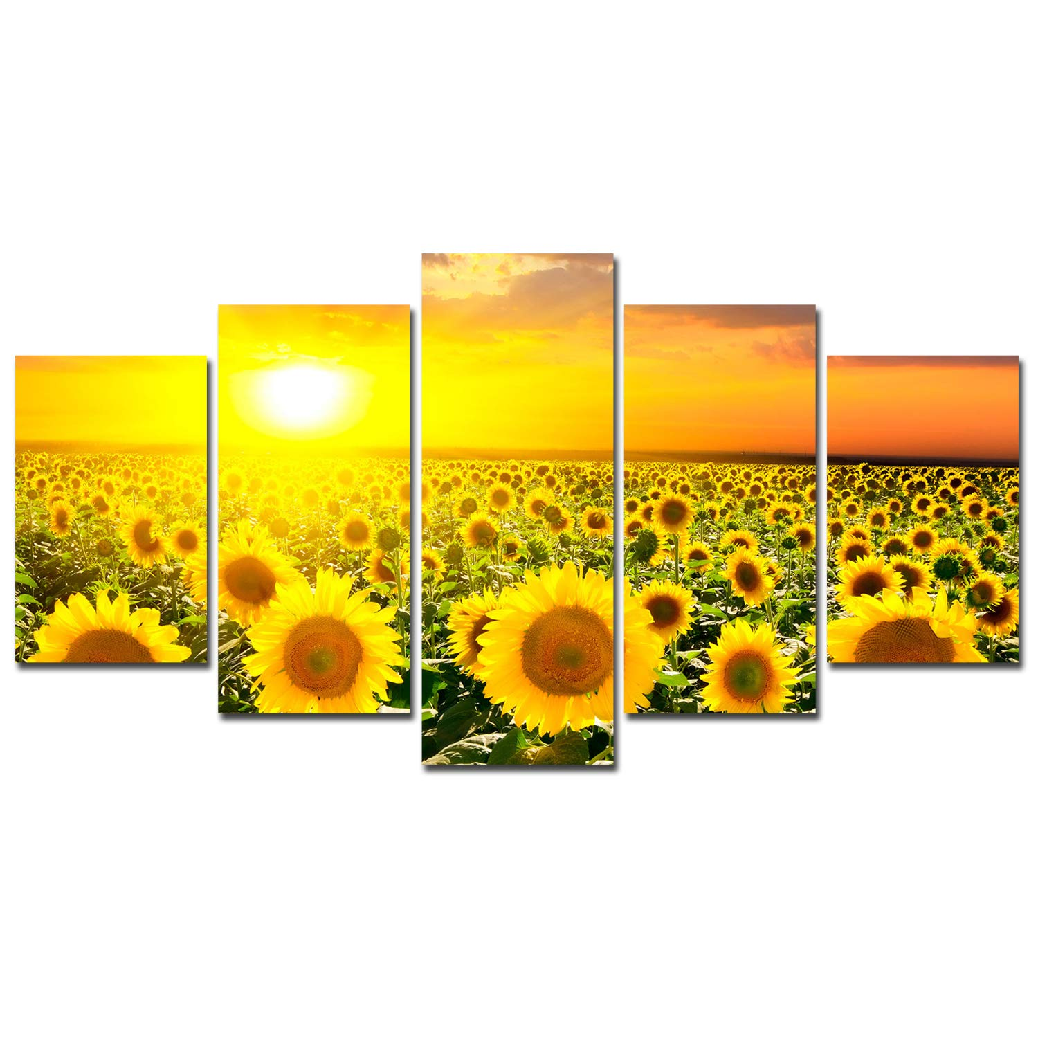 Sunflower Decoration Canvas Wall Art - Sunset Flowers Landscape Poster Home Decor for Living Room Framed Canvas Painting 5 Panels Modern Pictures Floral Art Print Set Rustic Family Kitchen Artwork