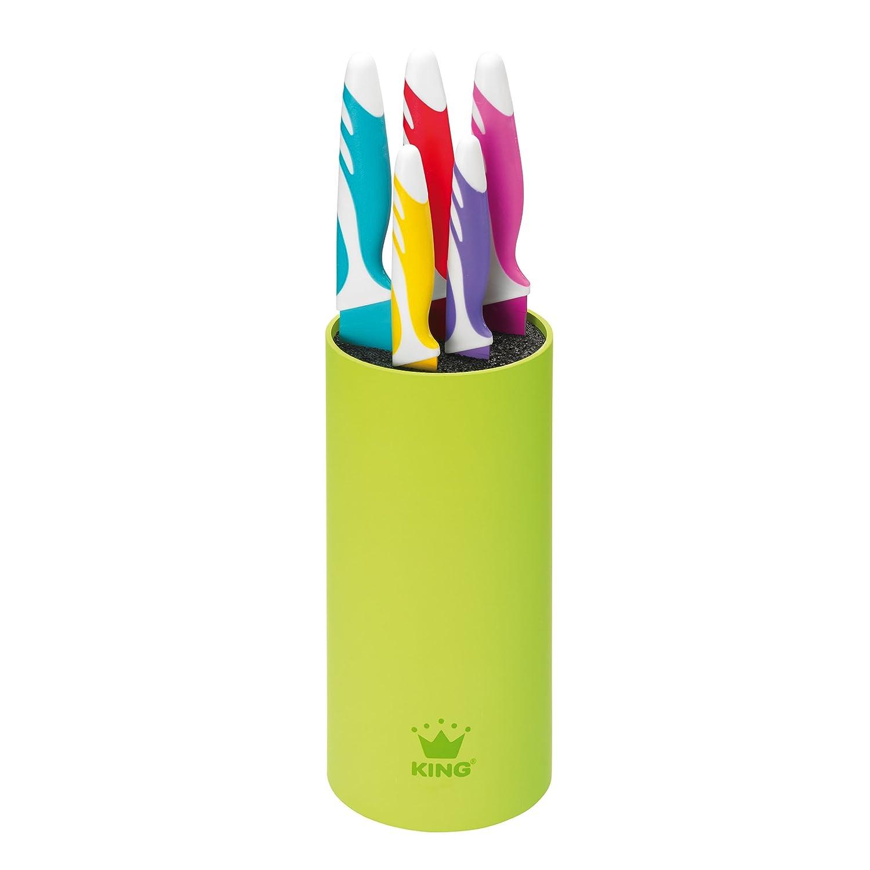 King 10000386 - Ceppo portacoltelli di design, materiale antibatterico morbido al tatto, 6 coltelli, colore: Lilla/Giallo/Rosso/Ciliegia/Azzurro