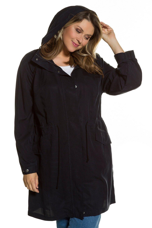 Ulla Popken Women's Plus Size Long Line Parka Style Coat Deep Blue 16/18 712301 70