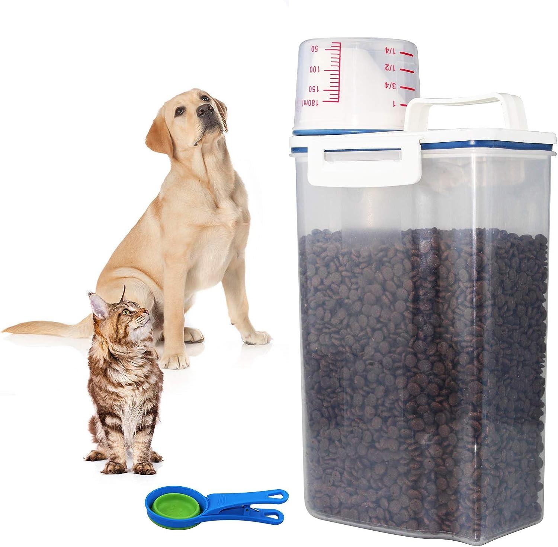 MOUHIV Almacenamiento Contenedor de Comida para Gatos 2.5L con Verter caño Taza medidora, Cuchara Plegable 118ML, Suministros para comederos de Mascotas para Peces, Granos Gruesos en la Cocina