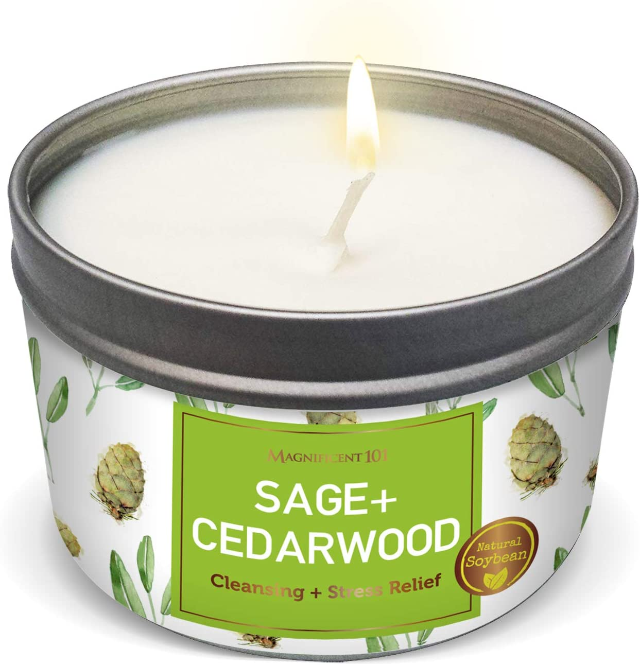 SAGE + Cedarwood Aromatherapy Candle for House Energy Cleansing and Stress Relief, Banishes Negative Energy I Purification and Chakra Healing - Natural Soy Wax Tin Candle for Aromatherapy 6oz