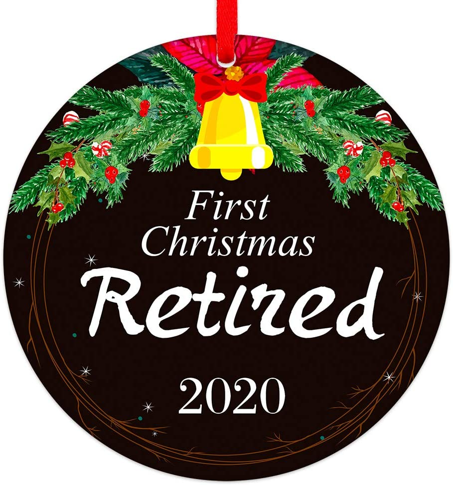 """PETCEE 2020 First Christmas Retired Ornaments 3"""" Retirement Christmas Tree Ornaments Decorations, Christmas Ornaments Gifts for Women Men Friends"""