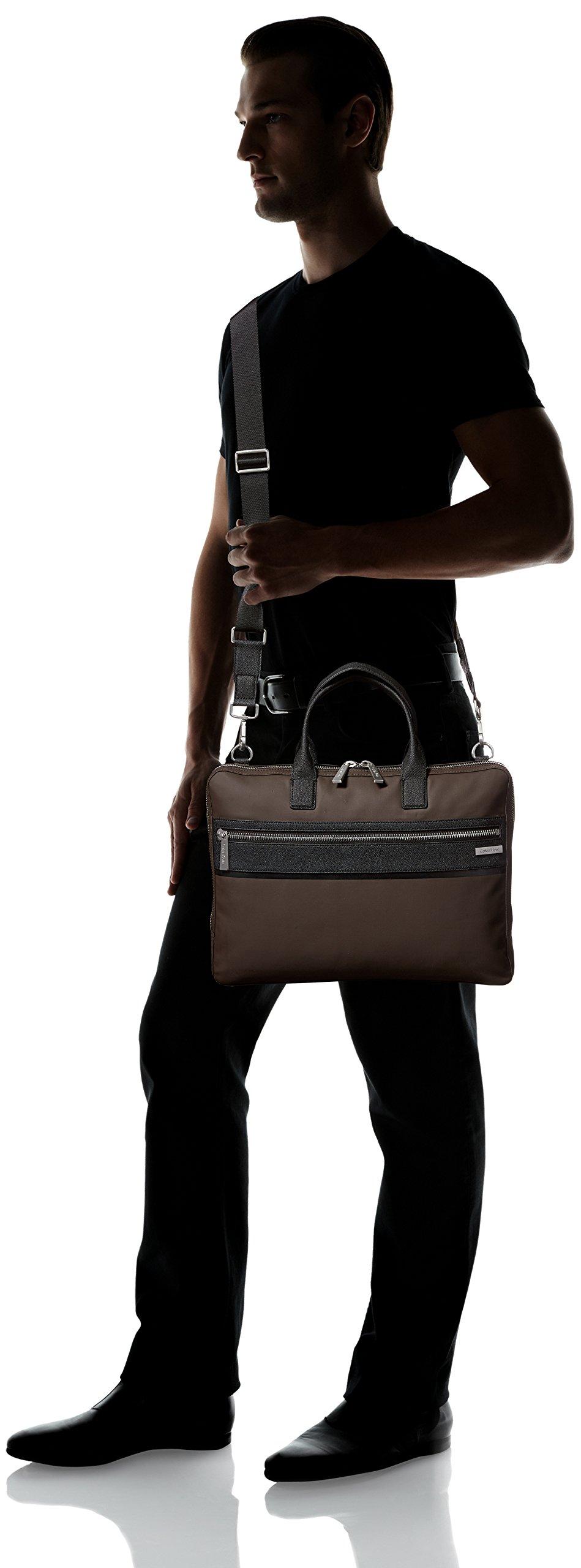 Calvin Klein Men's Nylon with Saffiano Trim Slim Attache, Dark Chocolate Brown by Calvin Klein (Image #6)