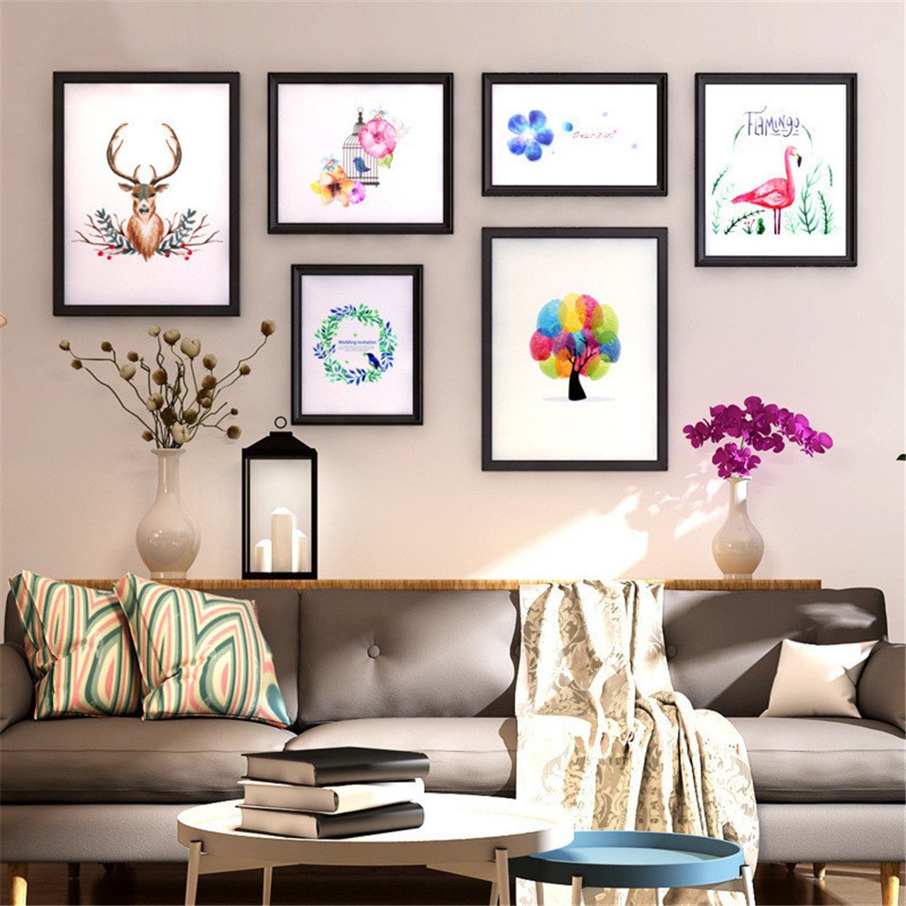 Photo frame photo wall Solid wood living room corridor sofa Background wall Picture frame -BLACK