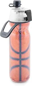 O2COOL Mist N' Sip Insulated Water Squeeze Bottle-20 oz, 20 Ounce, Basketball