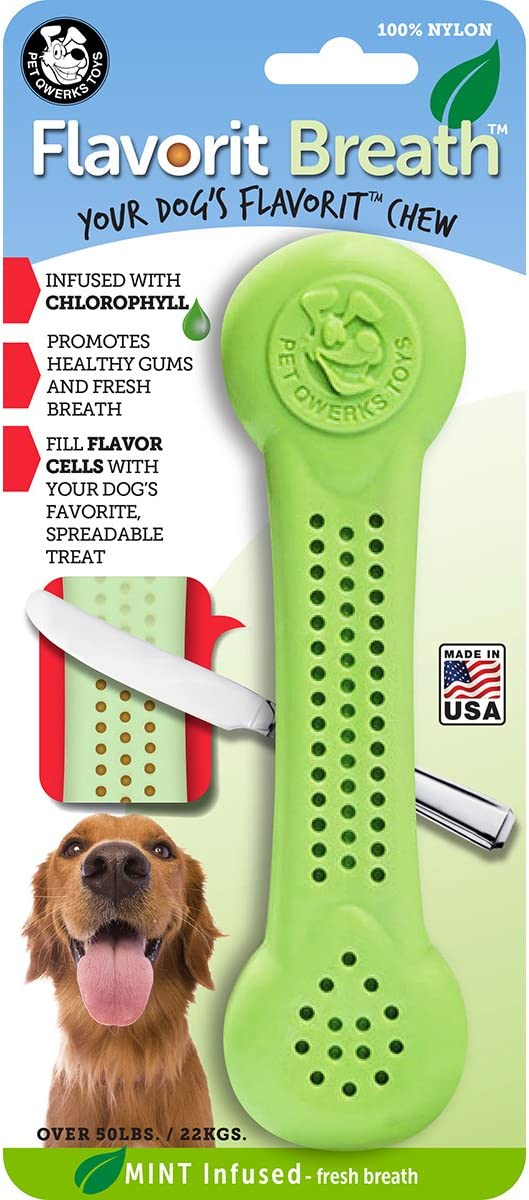 Pet Supplies Pet Qwerks Flavorit Mint Flavor Nylon Chew For Fresh Breath Fillable Dog Bones For Aggressive Chewers Tough Power Chewer Bone Toys Made In Usa With Fda Compliant