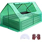 Quictent 4×3×1 Ft Extra-Thick Galvanized Steel Raised Garden Bed Planter Kit Box with Greenhouse 2 Large Zipper Windows Dual