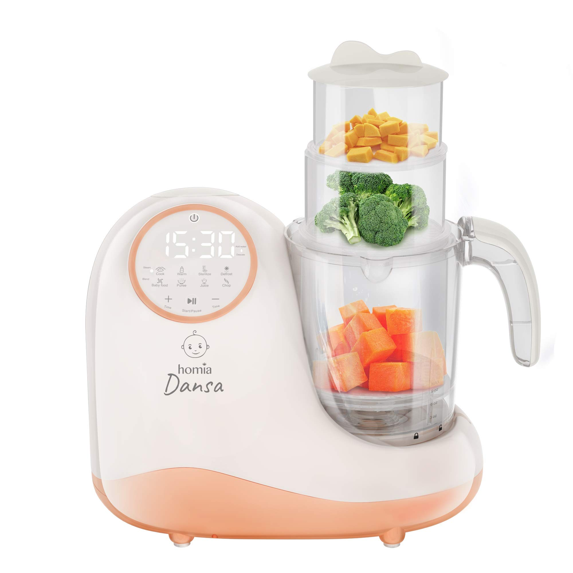 Baby Food Maker Chopper Grinder - Mills and Steamer 8 in 1 Processor for Toddlers - Steam, Blend, Chop, Disinfect, Clean, 20 Oz Tritan Stirring Cup, Touch Control Panel, Auto Shut-Off, 110V Only by homia (Image #2)