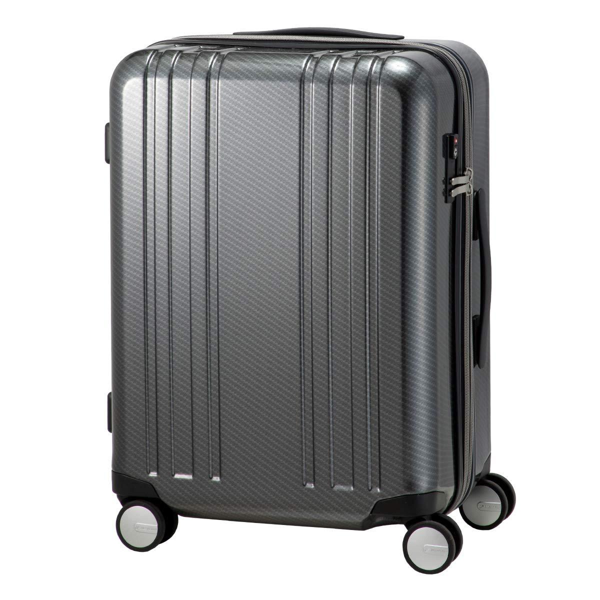 [プラスワン] スーツケース アルファスカイ 64L 55cm 3.8kg 9911-55EX  BLACK-CARBON B07RD3N9JM