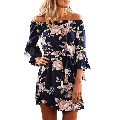 Yieune Summer Dress Off Shoulder Beach Dress Long Sleeve Floral Print Short  Mini Dresses (Dark