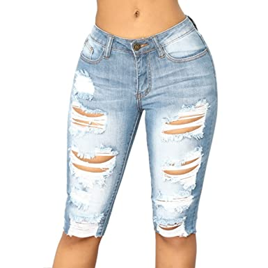 c6f9547a OVERMAL JEANS Womens Casual Elastic Denim Leggings Destroyed Bermuda Shorts  Jeans Pants at Amazon Women's Clothing store: