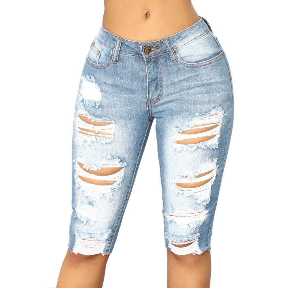 Clearance Womens Clothing WEUIE Womens Casual Elastic Denim Leggings Destroyed Bermuda Shorts Jeans Pants (XL, Blue)