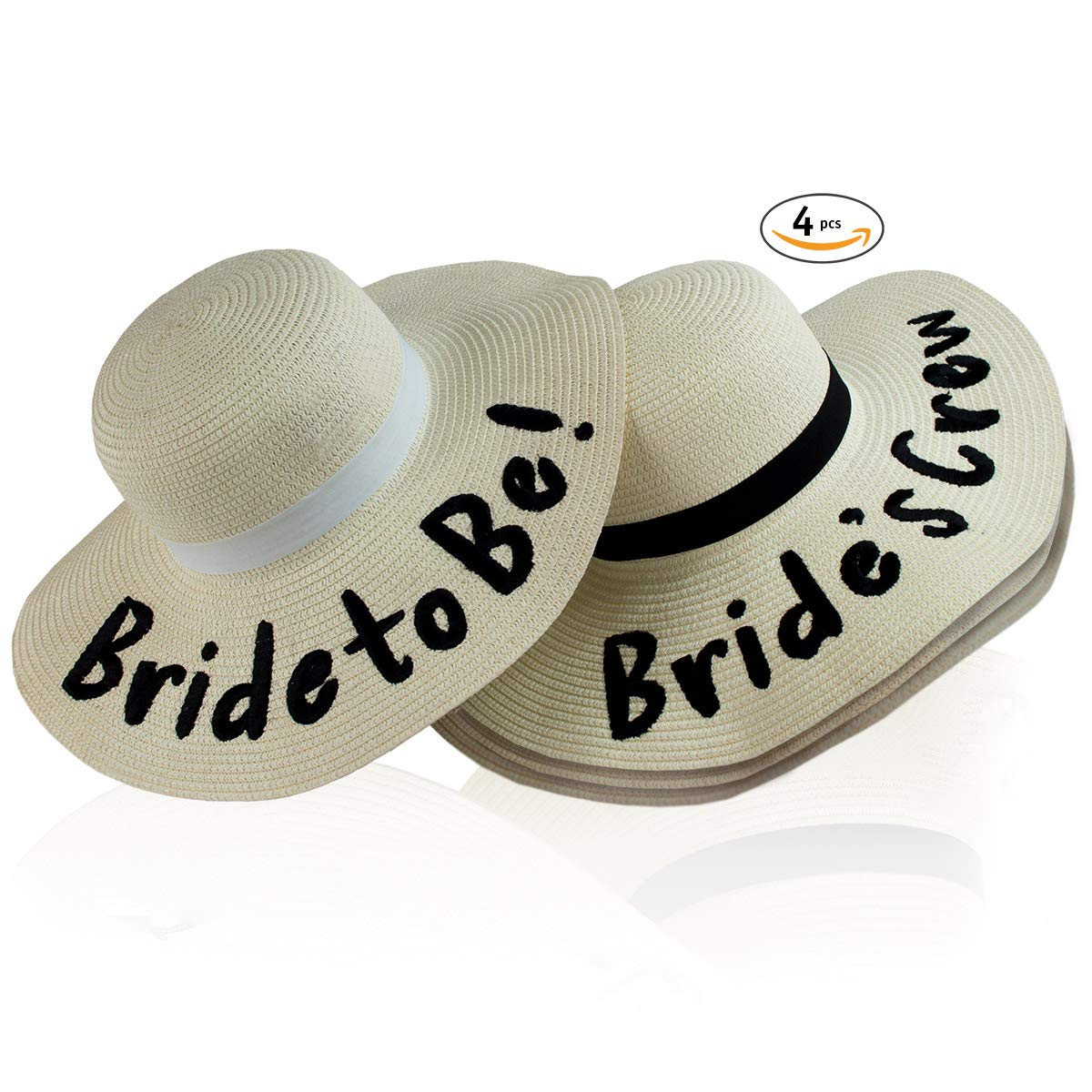 Bridally Bachelorette Party Hats, Sun Beach Wedding Trip Celebration Favors Decoration, Bride to Be! White Hat with Ribbon + 3 Bride's Crew in Black
