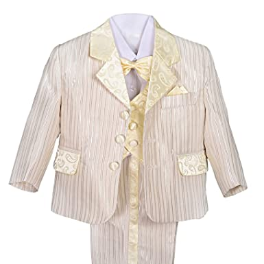 c823330a4a4 Dressy Daisy Boys  Striped Formal Dress Suits Tuxedo Vest Wedding Outfits 5  Pcs Set Size