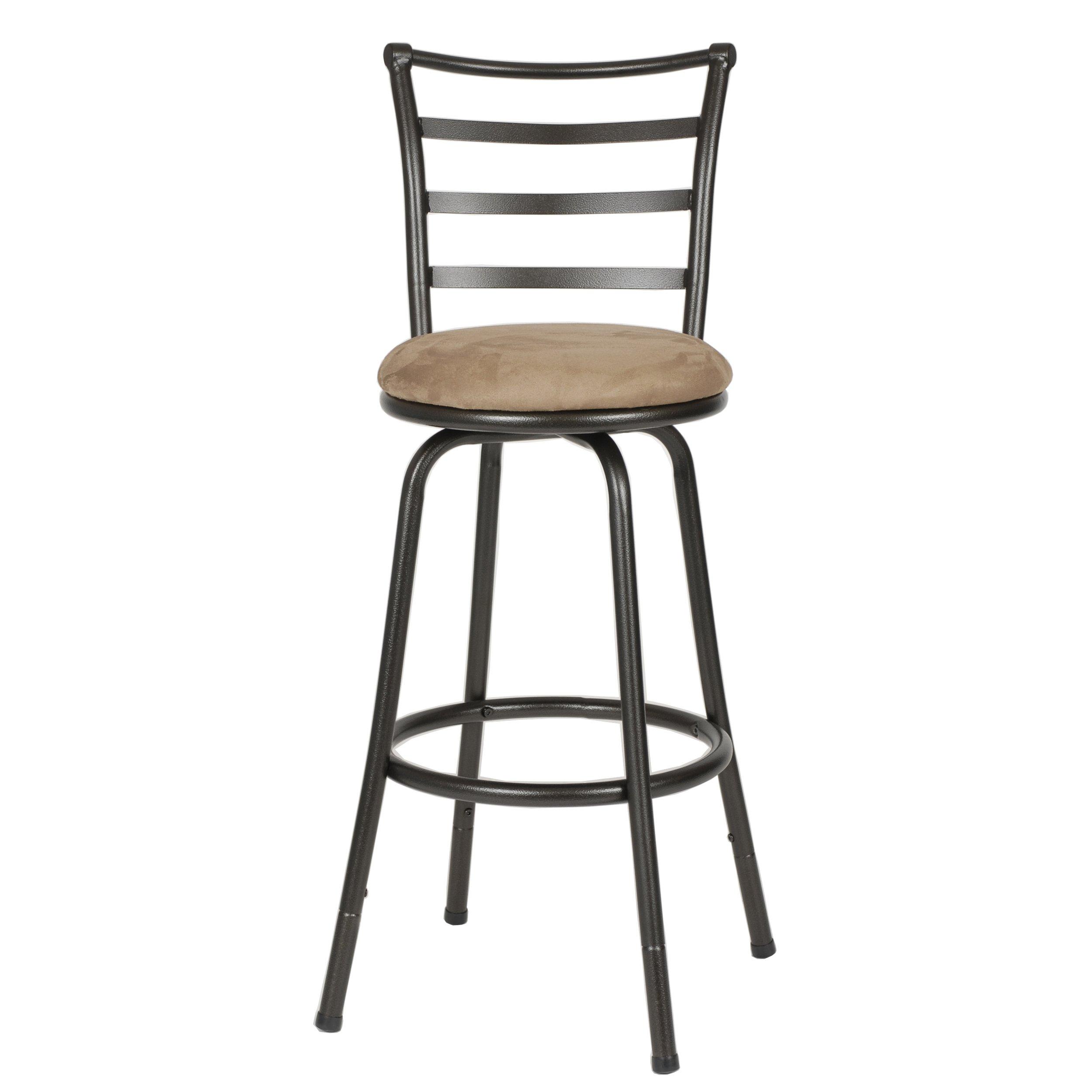 Roundhill Furniture Round Seat Bar/Counter Height Adjustable Metal Bar Stool, Metallic by Roundhill Furniture