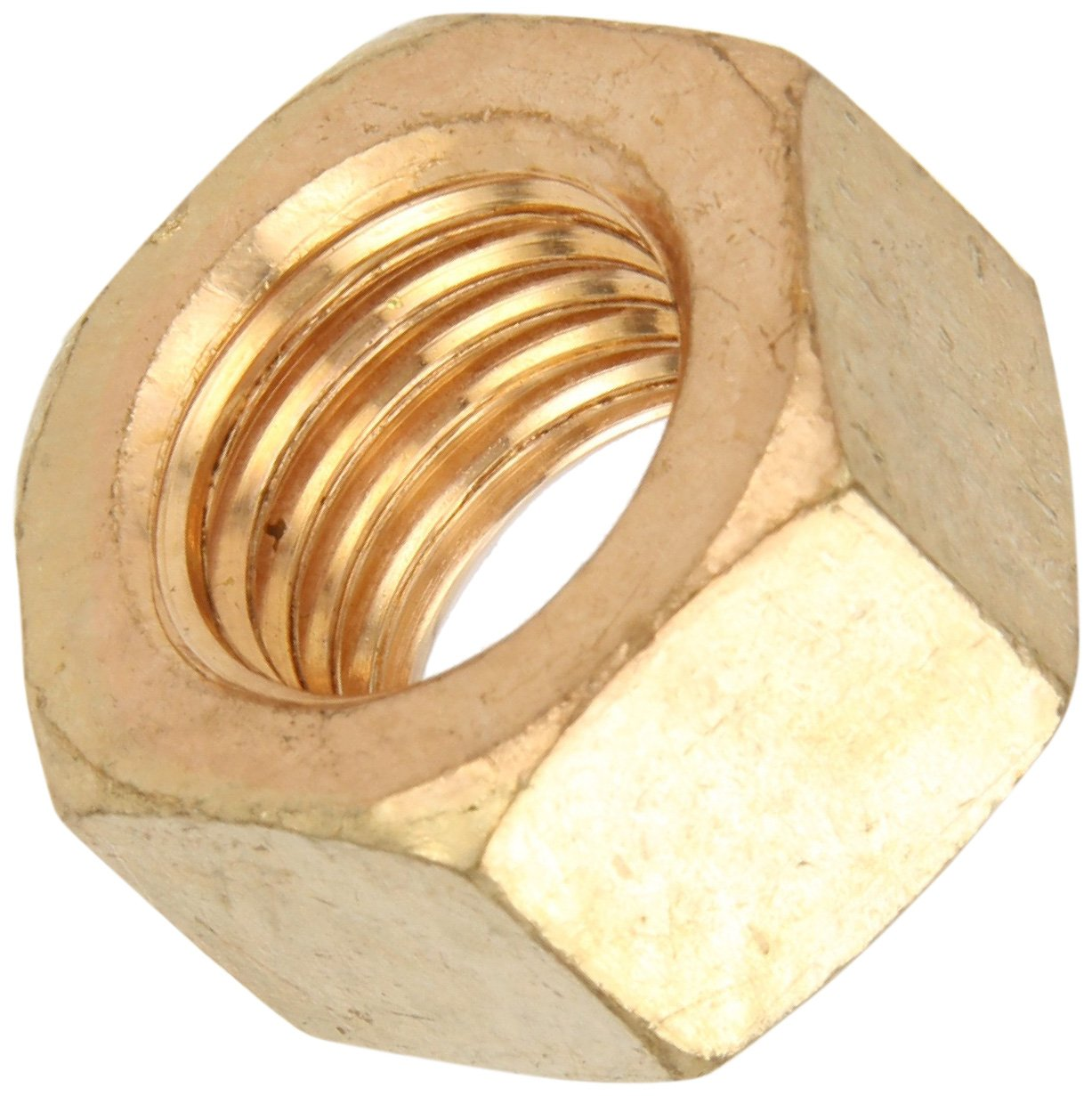 Silicon Bronze Hex Nut, Plain Finish, ASME B18.2.2, 7/8''-9 Thread Size, 1-5/16'' Width Across Flats, 3/4'' Thick