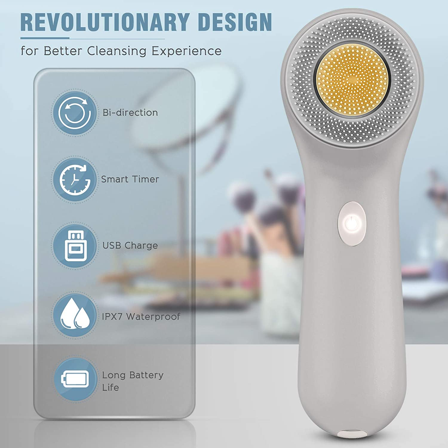 Facial Cleansing Brush, Rechargeable Face Spin Scrub Brush with 3 Heads for Cleaning Massaging (Gray)