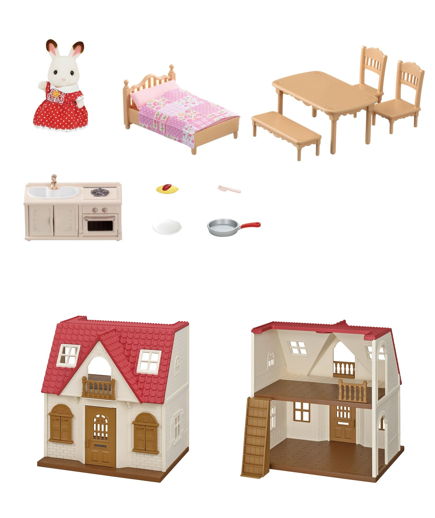 Calico Critters Red Roof Cozy Cottage - CC1798 < Dollhouses < Toys ...