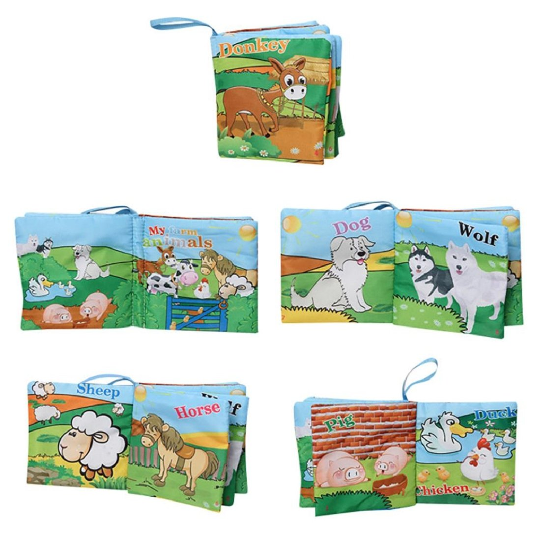 Soft Cloth Baby Book,Handmade Educational Toys for Baby, Interactive Baby Gifts Boy Girl, Gift Box & Book,GBell (B)
