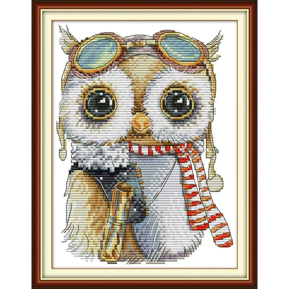 Maydear Cross Stitch Stamped Kits Full Range of Embroidery Starter Kits Beginners for DIY 11CT 3 Strands Baby owl 9.4/×12.6 inch