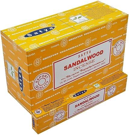 Incienso Satya - Sándalo - 12 Cajas de 15 Varillas -: Amazon.es: Hogar