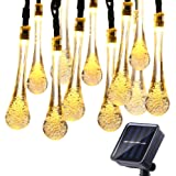 Icicle Solar Christmas String Lights, 15.7ft 8 Light Modes 20 LED Water Drop Fairy String Lighting for Outdoor & Indoor, Home, Patio, Lawn, Garden, Party, and Holiday Decorations (Warm White)