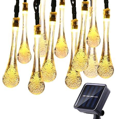 Amazoncom Icicle Solar Christmas String Lights 157ft 8 Light