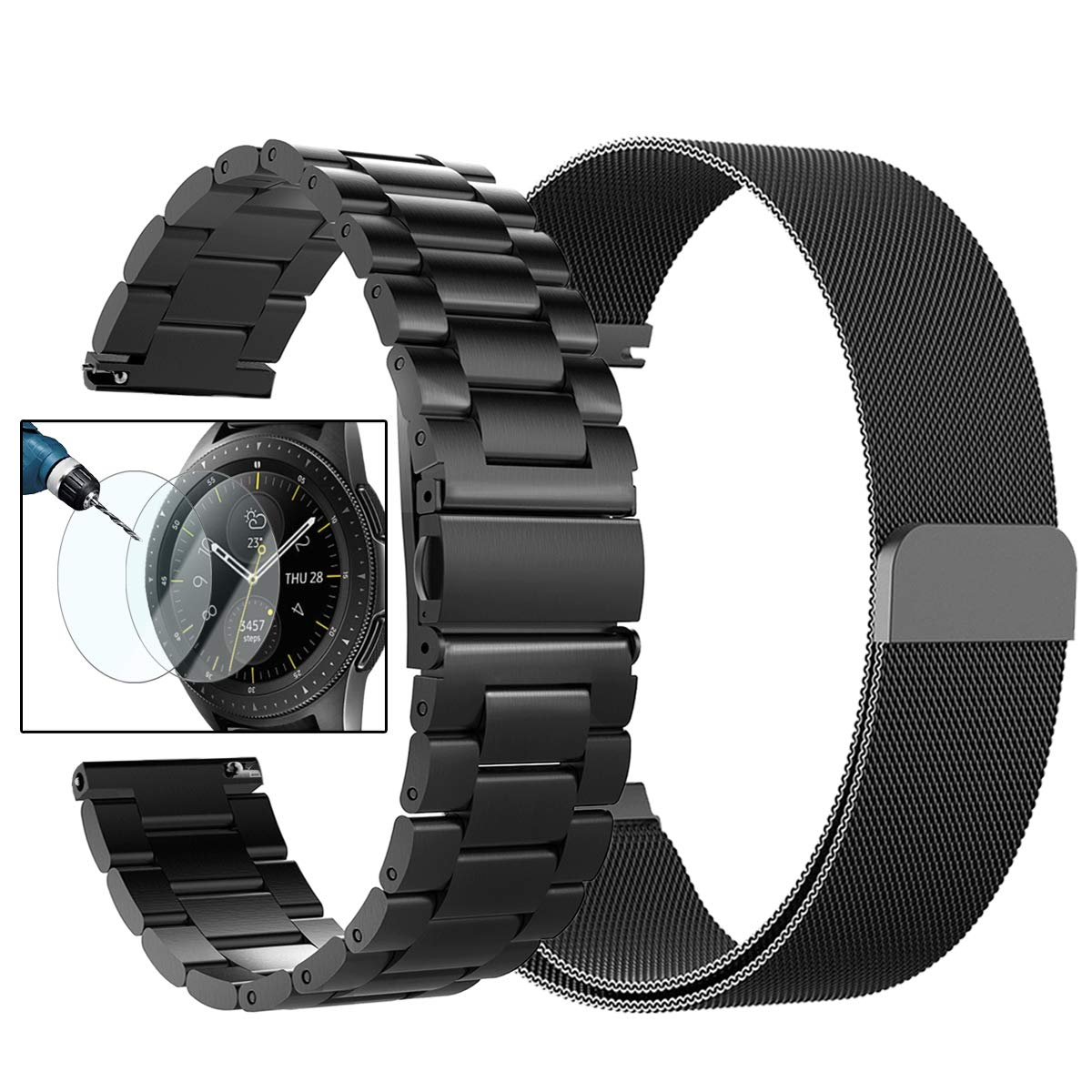 Valkit for Galaxy Watch (46mm) Bands, 2-Pack 22mm Stainless Steel Band + Milanese Loop Mesh Strap Replacement Metal Band Brecelet Sets, Compatible Samsung Galaxy Watch 46mm SM-R800 Smartwatch, Black
