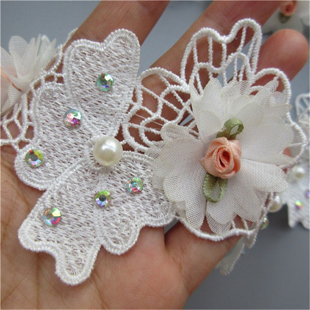 5pcs Flower Lace Ribbon Edge Trim with Pearl Beads Coloured Buds Floral Rhinestone Floral 8cm/ 3.15 inches Wide Vintage White Blue Edging Trimmings Fabric Embroidered Applique Sewing Craft (Blue) Qiuda