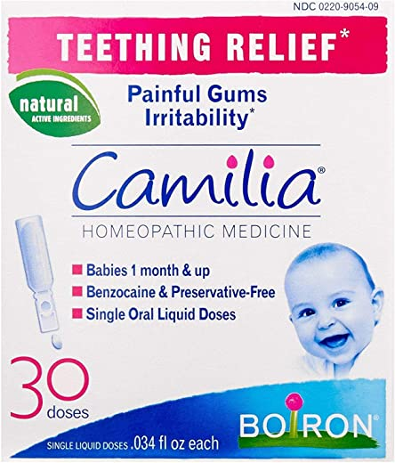 Boiron Camilia, Baby Teething Relief, 30 Doses. Teething Drops for Painful Gums, Irritability. Benzocaine and Preservative-, Sterile Single Oral Liquid Doses, Natural active Ingredient