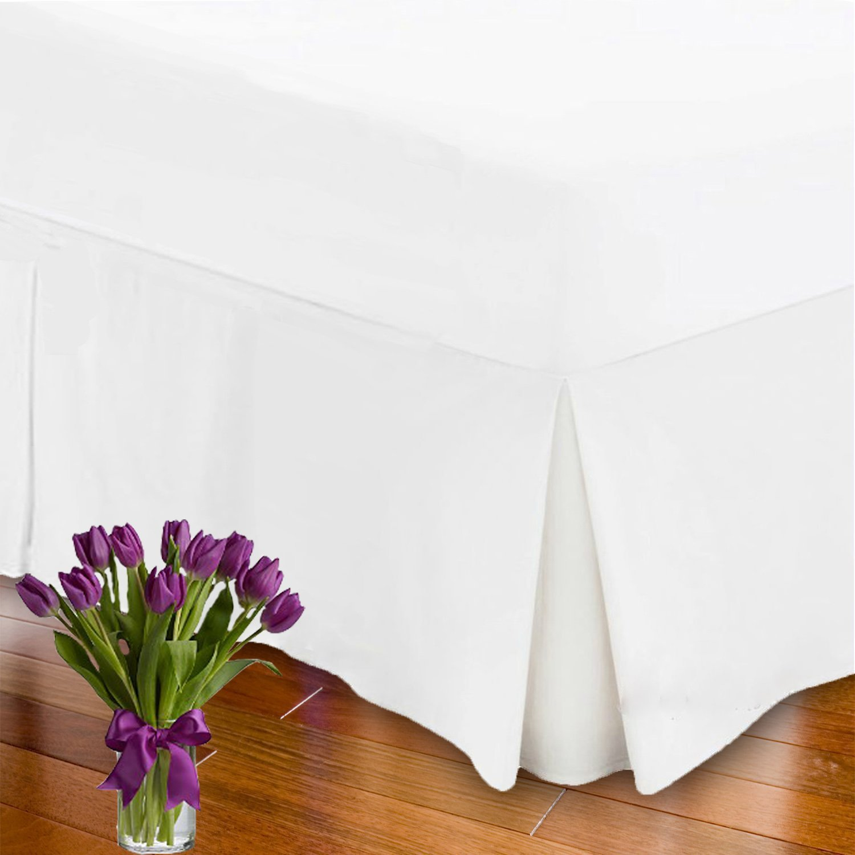 Extra Deep Pleated Valance Sheet 26' Top Quality Valance Bed Sheet White King Size Maria Fabrics Ltd