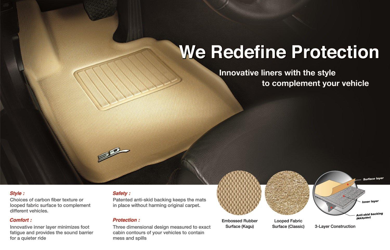 Kagu Rubber L1CY00211509 Black 3D MAXpider Front Row Custom Fit All-Weather Floor Mat for Select Chrylser 200 Sedan Models