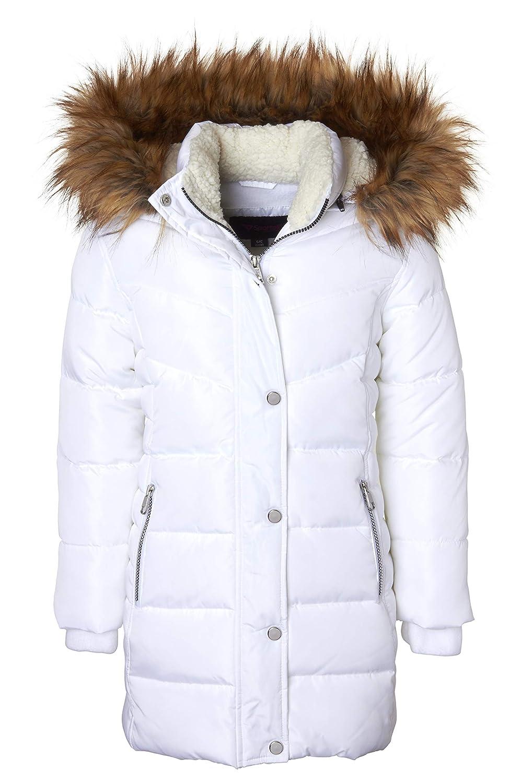 3433d7f8311 Amazon.com  Girls Heavy Quilt Fleece Lined Long Winter Jacket Coat with  Zip-Off Sherpa Hood  Clothing