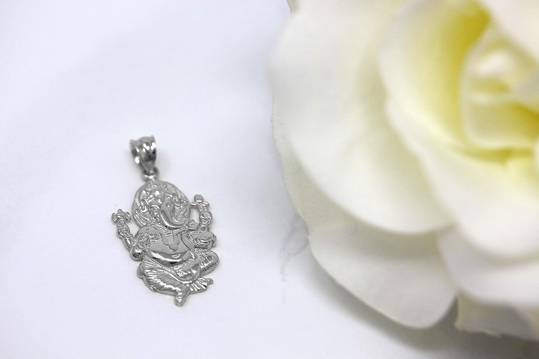 CaliRoseJewelry 14k Hindu Lord Ganesh Ganesha Elephant Hindu God of Fortune Charm Pendant Necklace