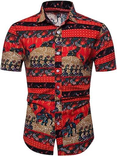 Camisa Informal para Hombre, de Viahwyt, con impresión Hawaiana, Playera de Manga Corta, Blusa con impresión 3D, Camiseta de diseñador para Hombre Rojo Rosso XXXXL: Amazon.es: Ropa y accesorios
