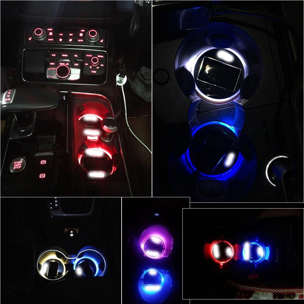 LED USB /Énergie solaire Lot de 2 tapis ronds lumineux pour porte-gobelet de voiture D/écoration int/érieure pour toutes les voitures
