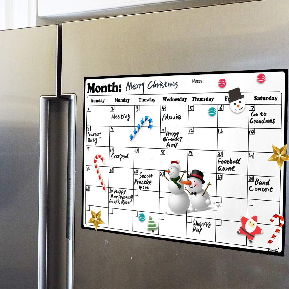 "Fridge Calendar Magnetic Dry Erase Calendar Whiteboard 2019-20 Calendar for Kitchen Refrigerator Smart Planners 16.9"" x 11.8"""