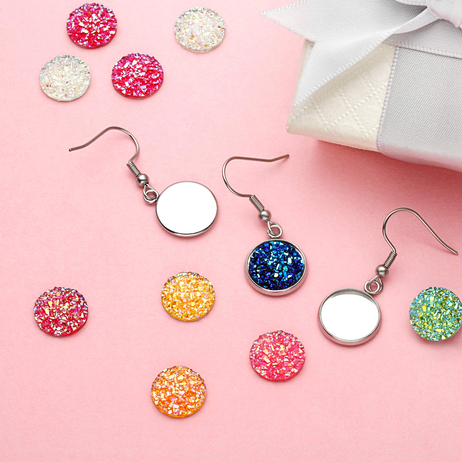 DIY Craft 200 Pieces 20 Colors 12 mm Resin Cabochons Faux Druzy Cabochons Flat Back Dome Cabochons and 40 Pieces Stainless Steel Earring Wire Hooks Blanks for Jewelry Making