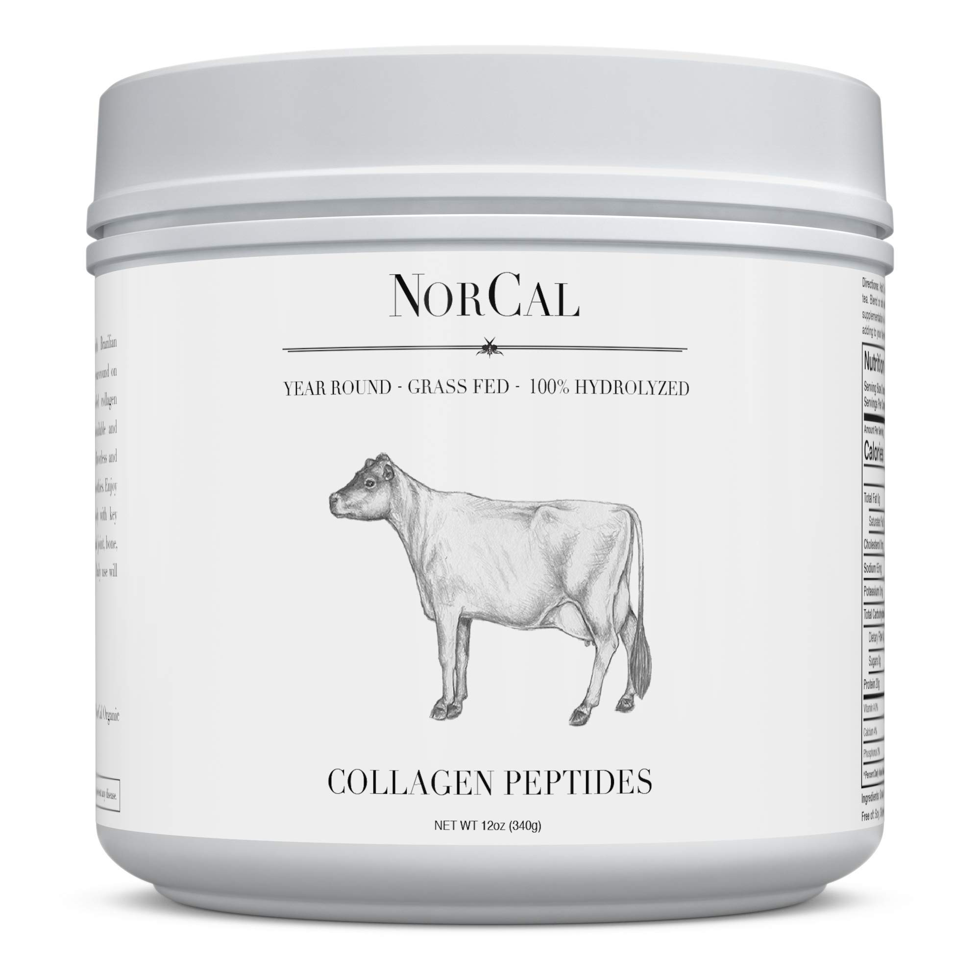 Norcal Organics Grass-Fed Collagen Peptide Hydrolysate Powder, 12oz | 20g Protein | Hydrolyzed Keto Supplements Protein Production for Strong Healthy Bones, Joints, Cartilage & Tendons by Source Organic