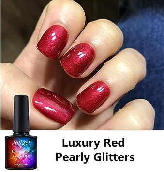 Joligel Esmalte Semipermanente para Uñas Gel UV LED Shellac Manicura Pedicura Permanente Soak Off, Rojo Luxury, con Brillos Superfinos: Amazon.es: Belleza
