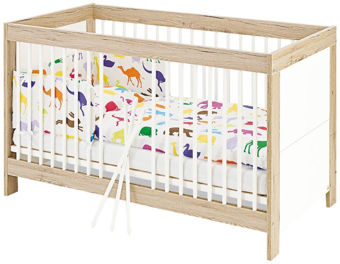 Pinolino 110056 Kinderbett Candeo Dekor Eiche mit Echtholzstruktur und Uni, weiß