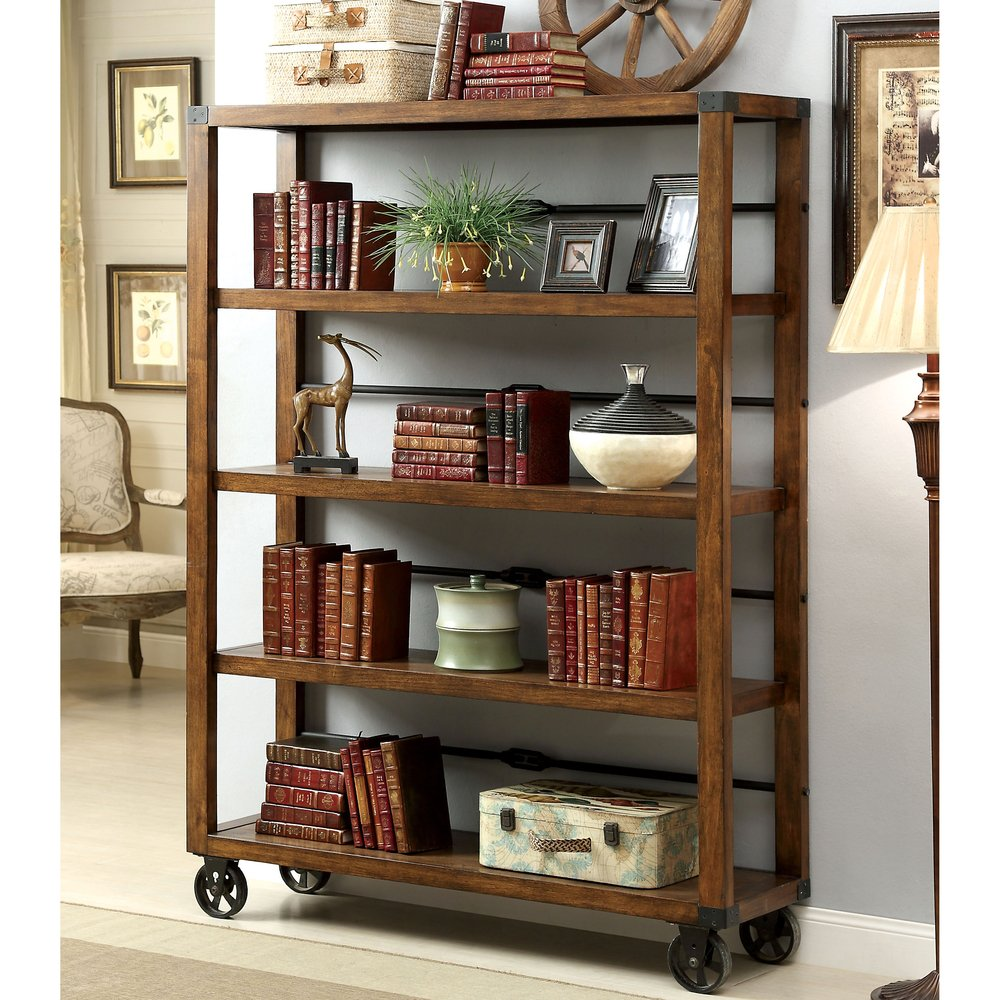 Amazon com rolling wooden bookcase with fixed shelves featuring a rustic industrial factory or urban look kitchen dining