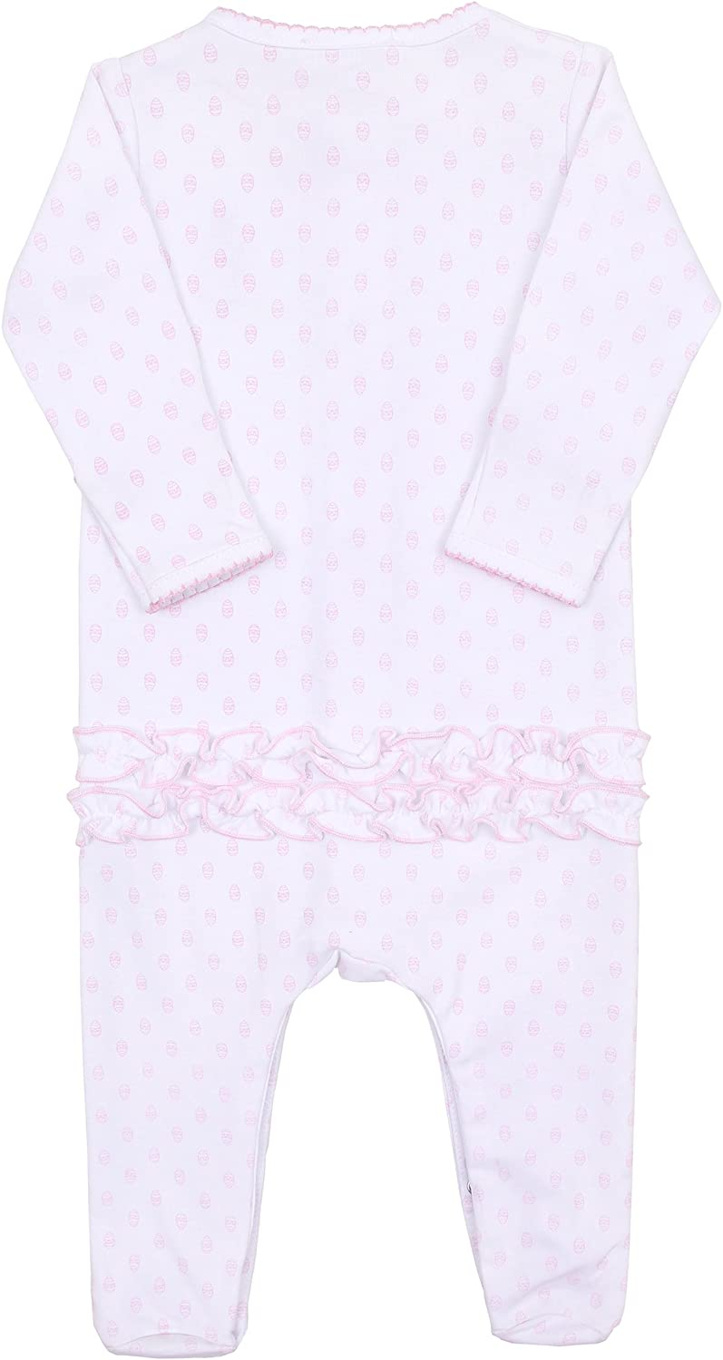 Magnolia Baby Baby Girl Bunnys Egg Hunt Embroidered Ruffle Footie Pink